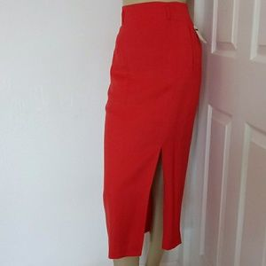 NWT Rafaella midi red skirt